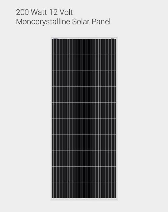200W 12 VOLT MONOCRYSTALLINE SOLAR PANEL